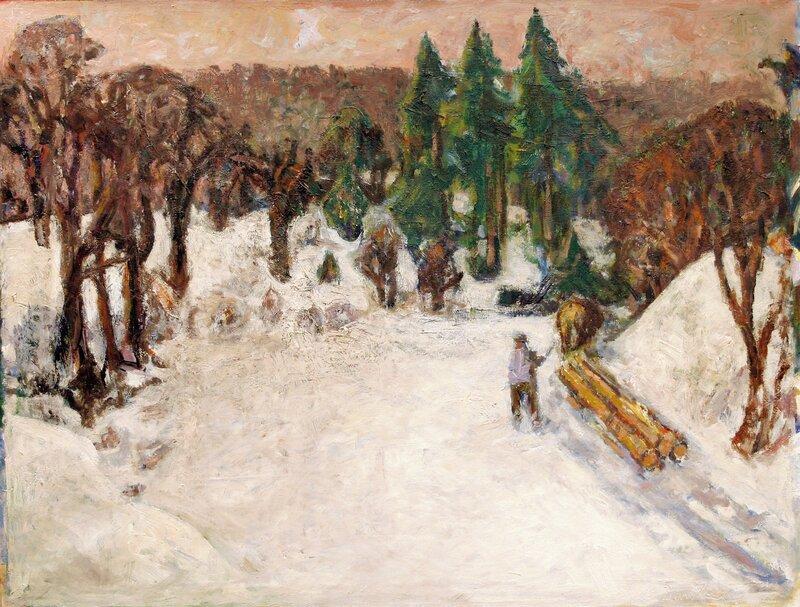 Tømmerkjøring i vinterlandskap