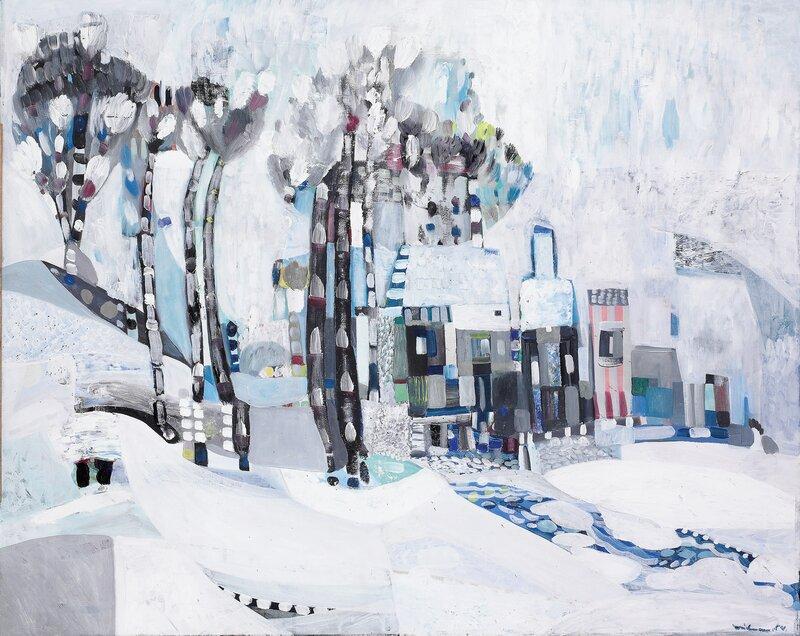 Vinterlandskap med hus 1954