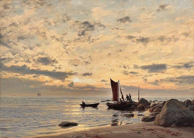 Strandparti fra Nærland, etter regn 1897