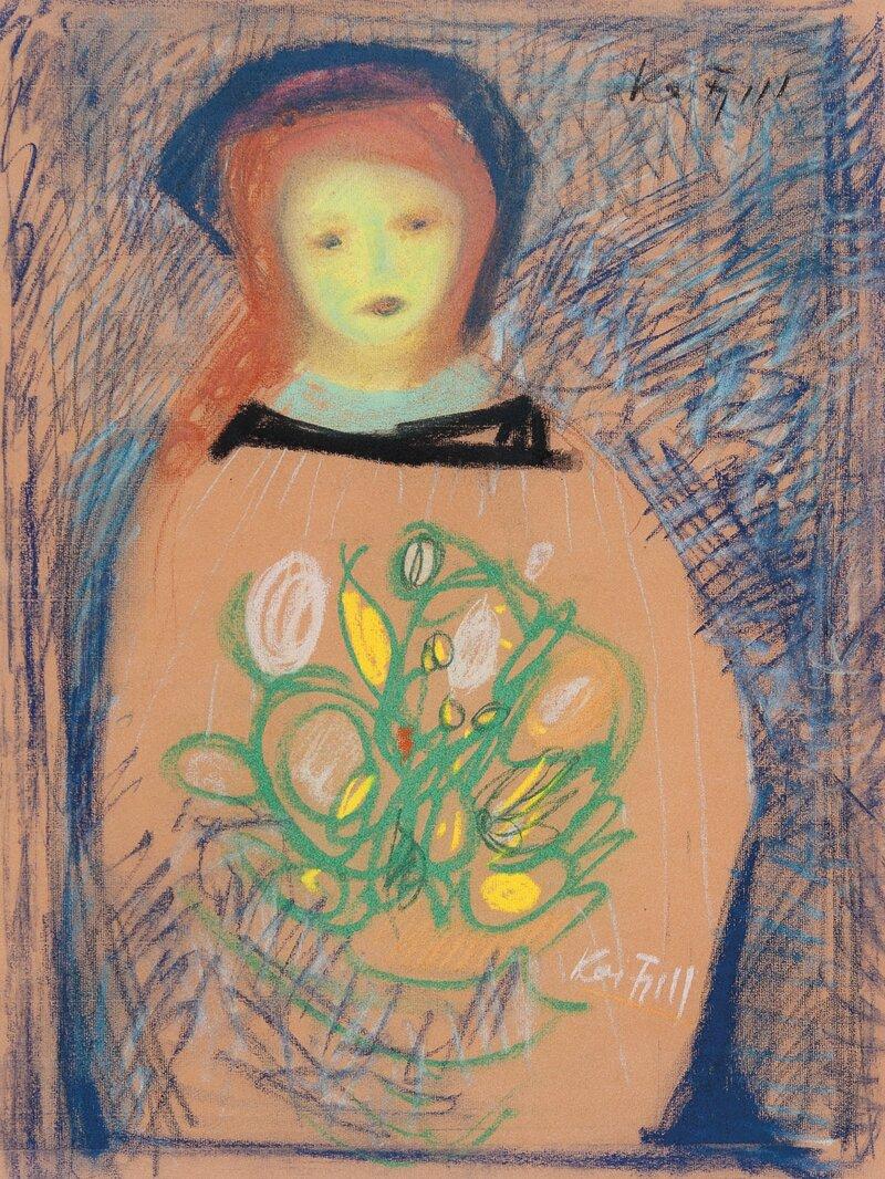 Kvinne med blomster i favnen