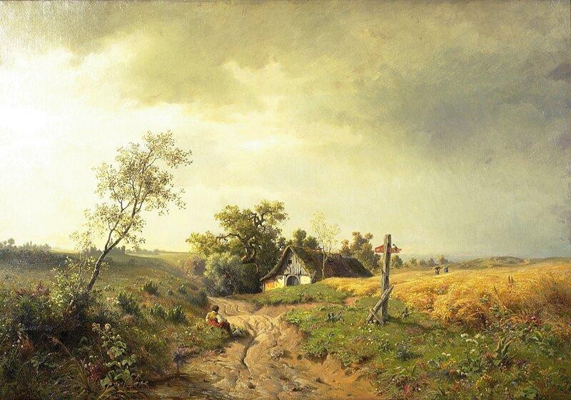 Tysk landskap med figurer 1869