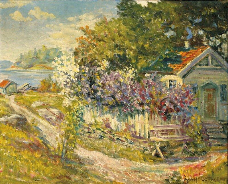 Kystlandskap med hus og syriner