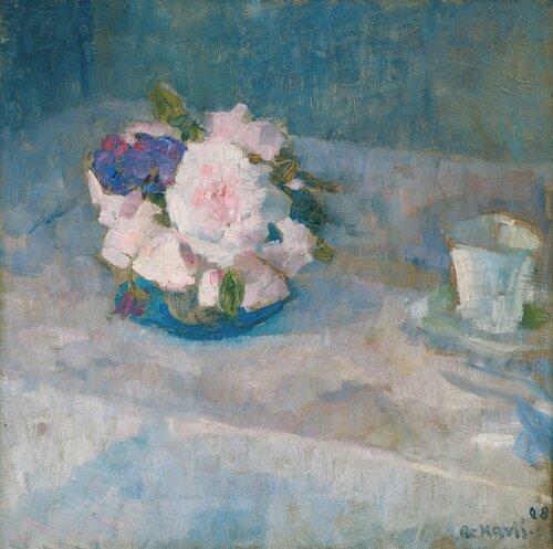 Oppstilling med blomster og kaffekopp 1908