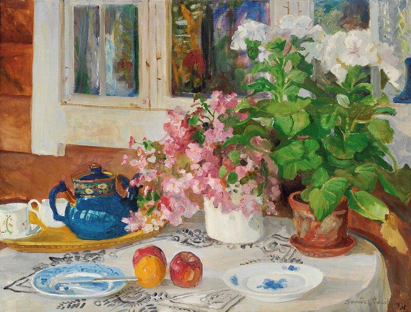 Oppstilling med frokostbrett og blomster 1931