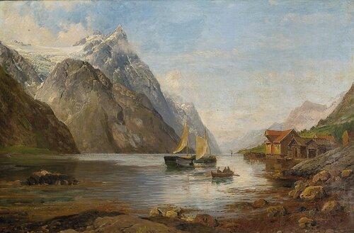 Fjordlandskap med folkeliv