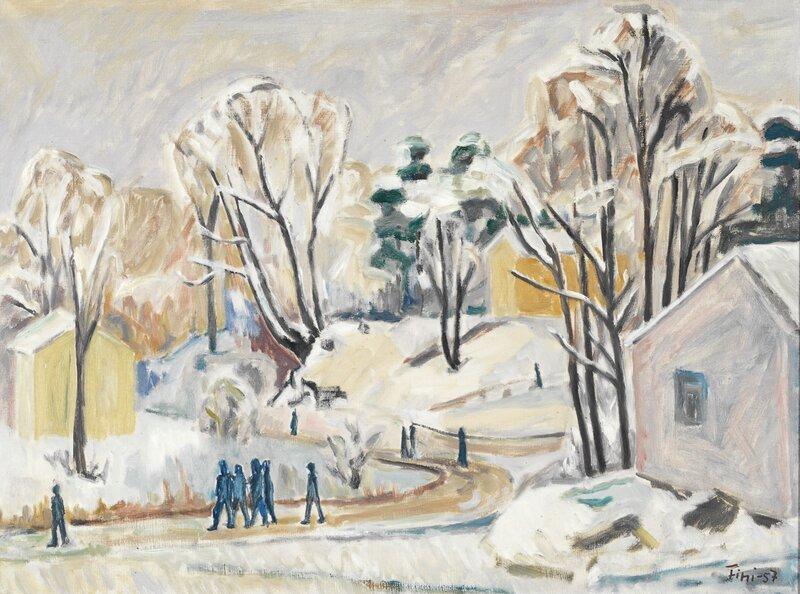 Vinterlandskap med hus og figurer 1957