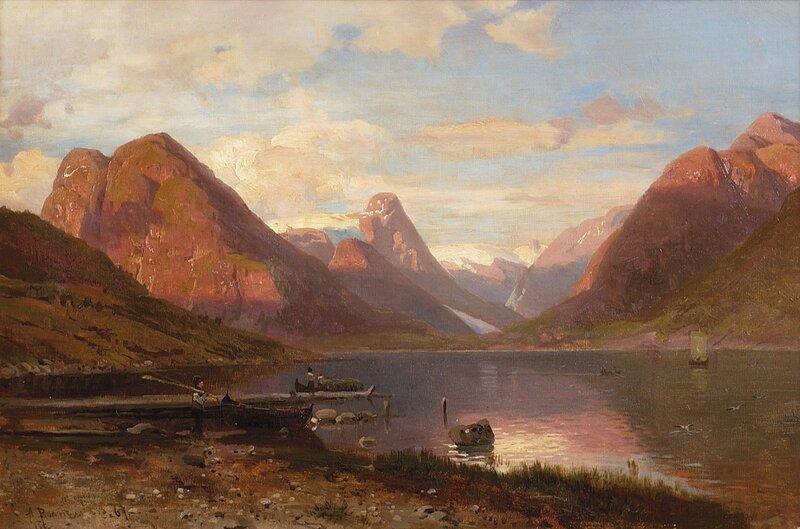 Fjordlandskap med folkeliv 1867