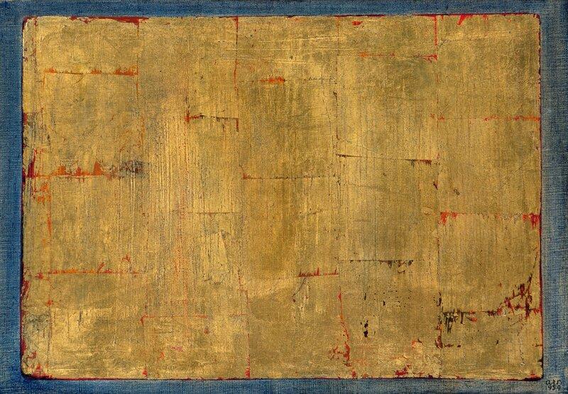 Gullspeil mot blå fond 1959