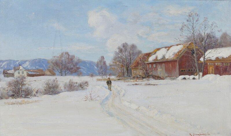 Vinterdag med gående mann