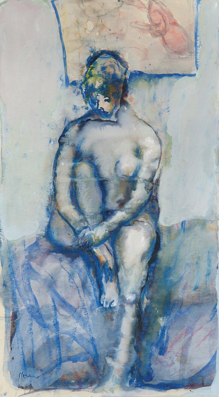 Kvinne på sengekanten, akt