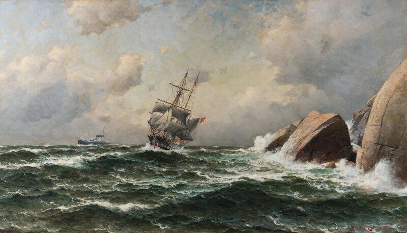 Sailing Ship and Steamer by a rocky Coastline 1912