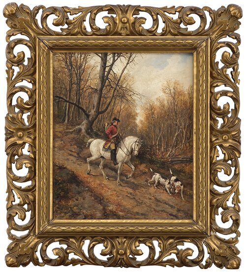 Horseman with hunting dogs 1884