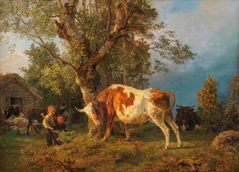 Children, ox and cows 1861