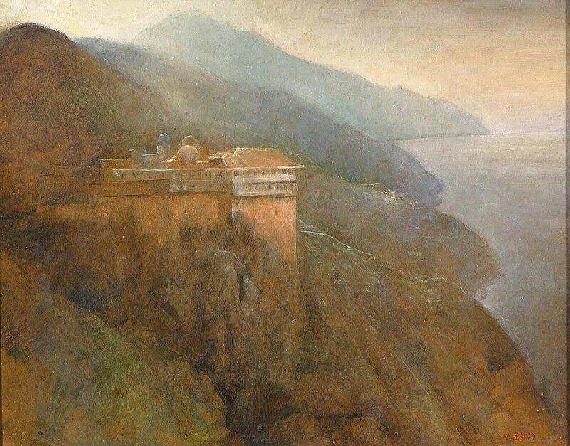 Sydlandsk landskap med kloster