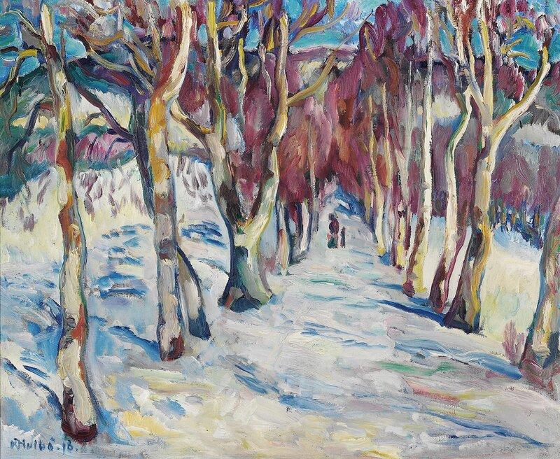 Vinterlandskap med allé 1918