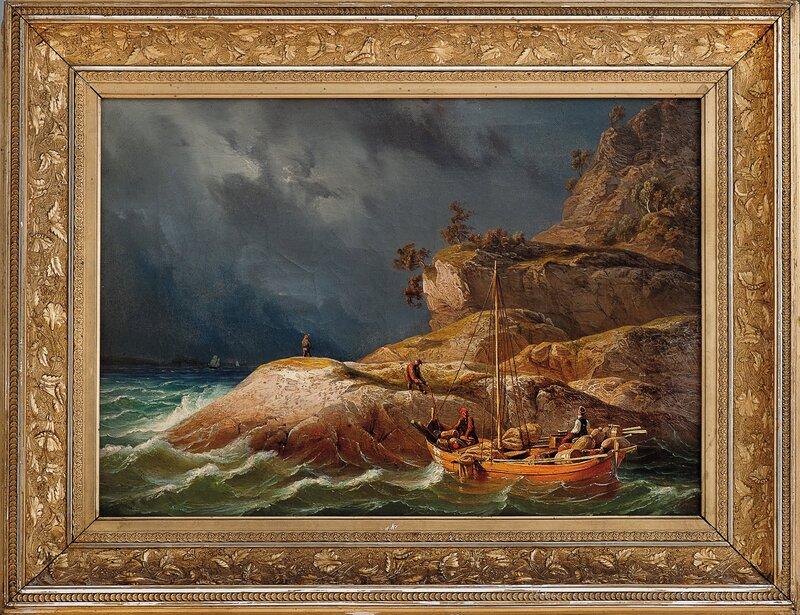 Fjordlandskap med folkeliv 1847