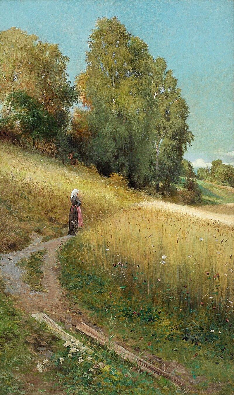 Høstlandskap med kvinne og kornåker