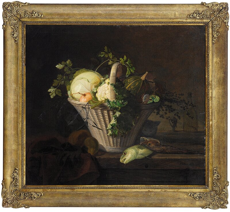 Stilleben med grønnsakskurv og fisk 1842