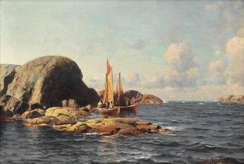 Seilbåter med fiskere i kystlandskap 1894