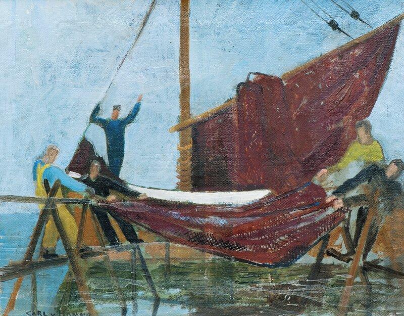 Fiskere tørker garn