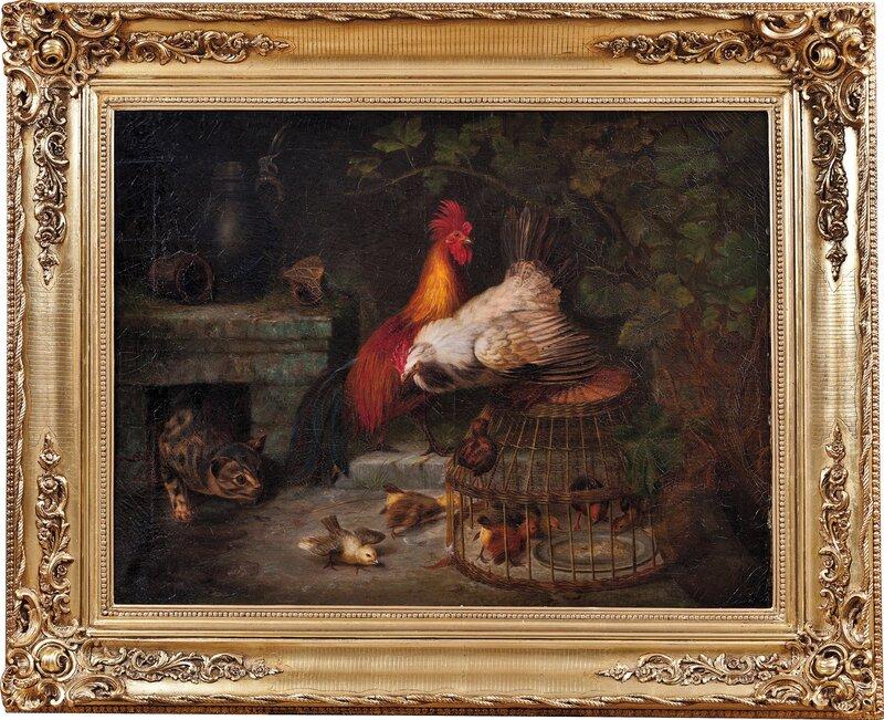 Hane, høne, kyllinger og katt 1858