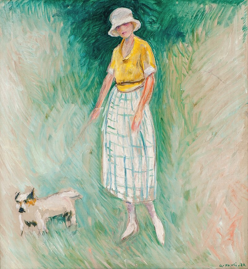 Woman with a lapdog on a leash