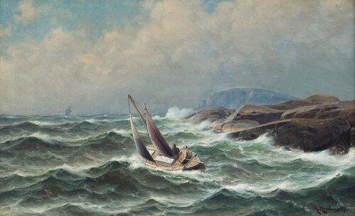Losskøyte på vei ut mot seilskute 1897