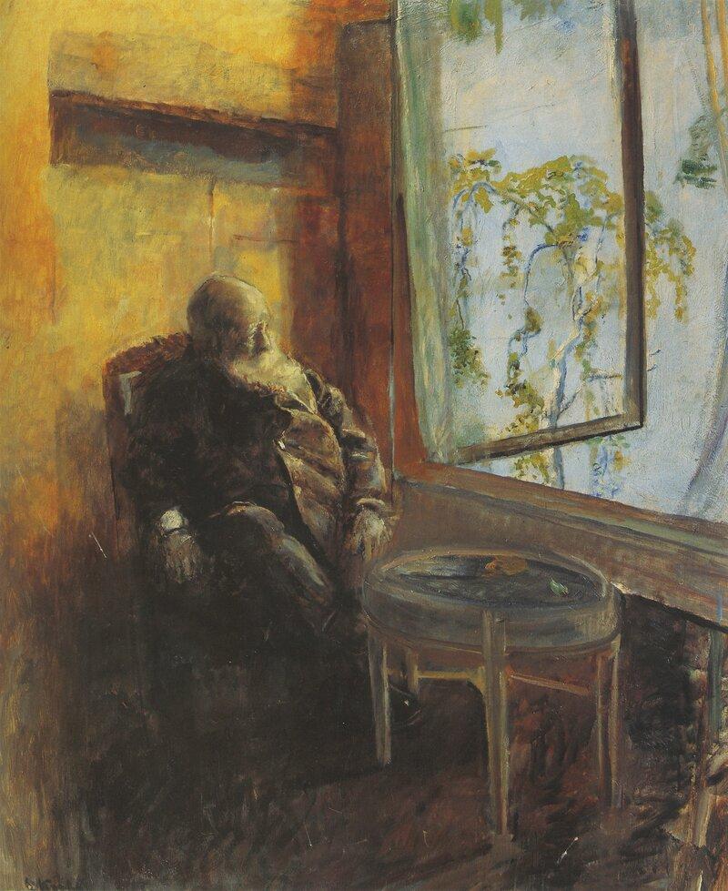 Selvportrett ved vinduet