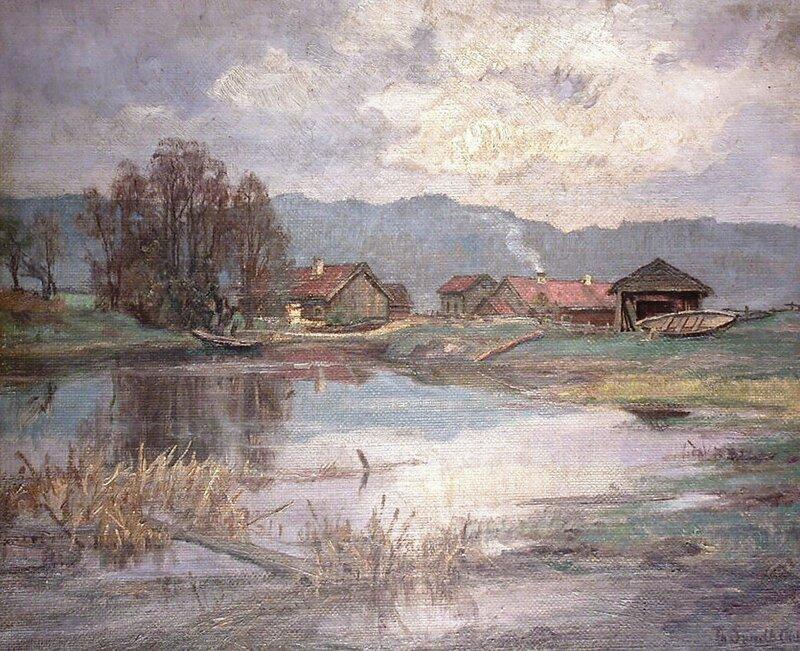 Gårdsbruk ved innsjø