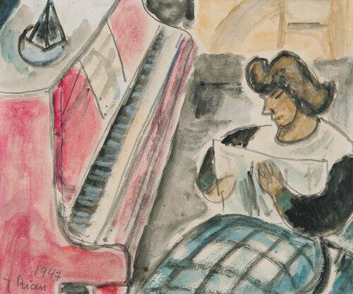 Kvinne ved piano 1947