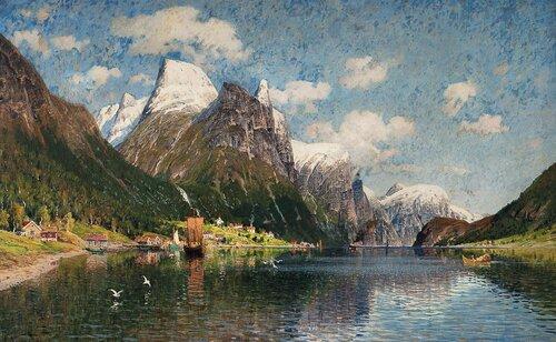 Fjordlandskap med tettsted
