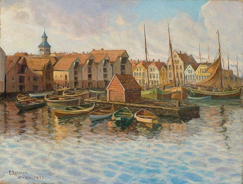 Fra Stavanger havn, studie 1887
