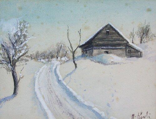 Låve i vinterlandskap