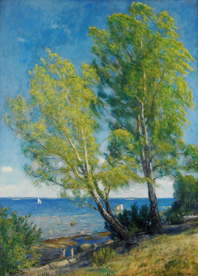 Bjerketrær ved stranden, Åsgårdstrand