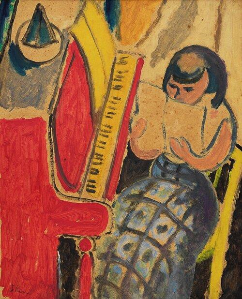 Lesende kvinne ved piano