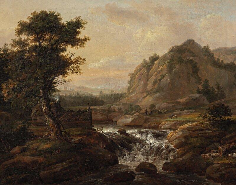 Norsk fantasilandskap med foss 1816