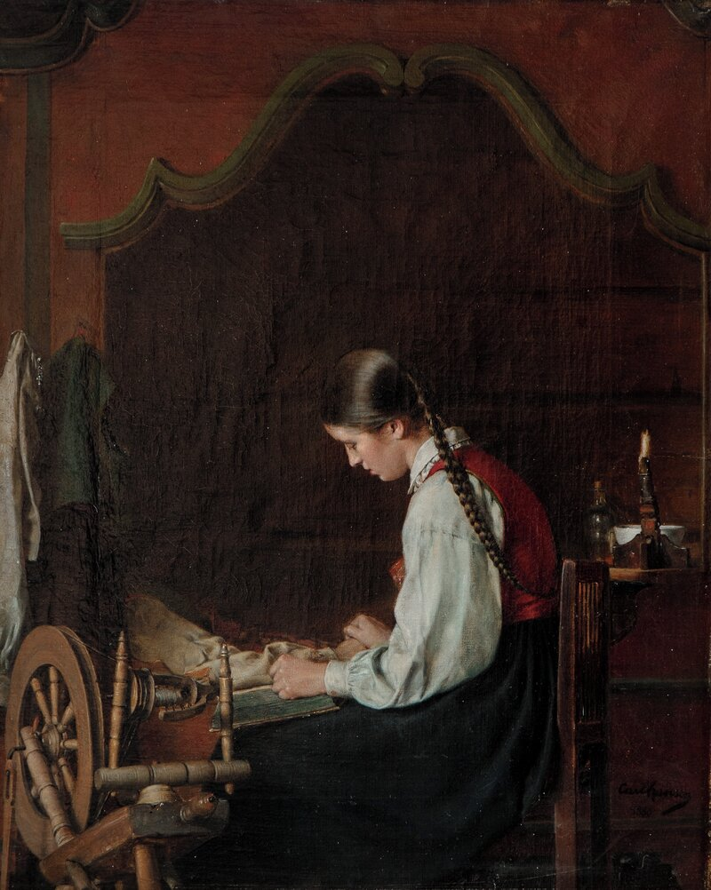 Lesende pike i interiør 1880