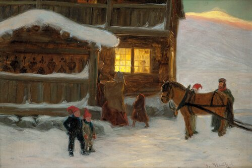Mountain Farm with People, Winter