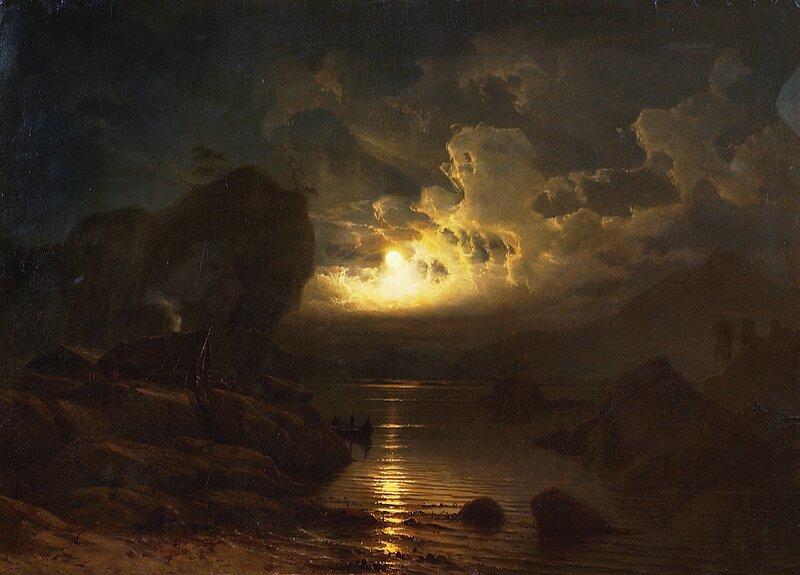 Fjordlandskap i måneskinn 1852