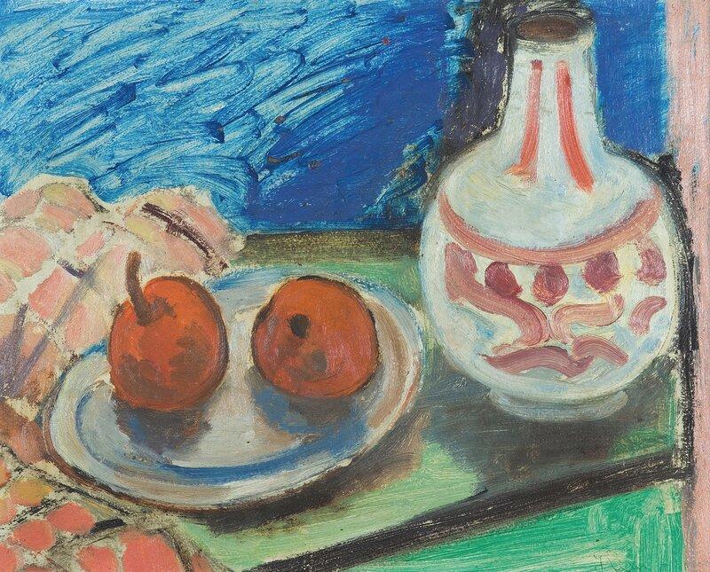 Oppstilling med krukke og frukt 1934