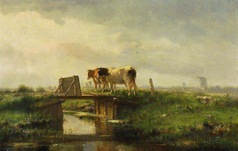 Hollandske kyr og møller 1895