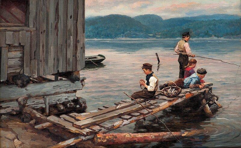 Brygge med fiskergutter 1901