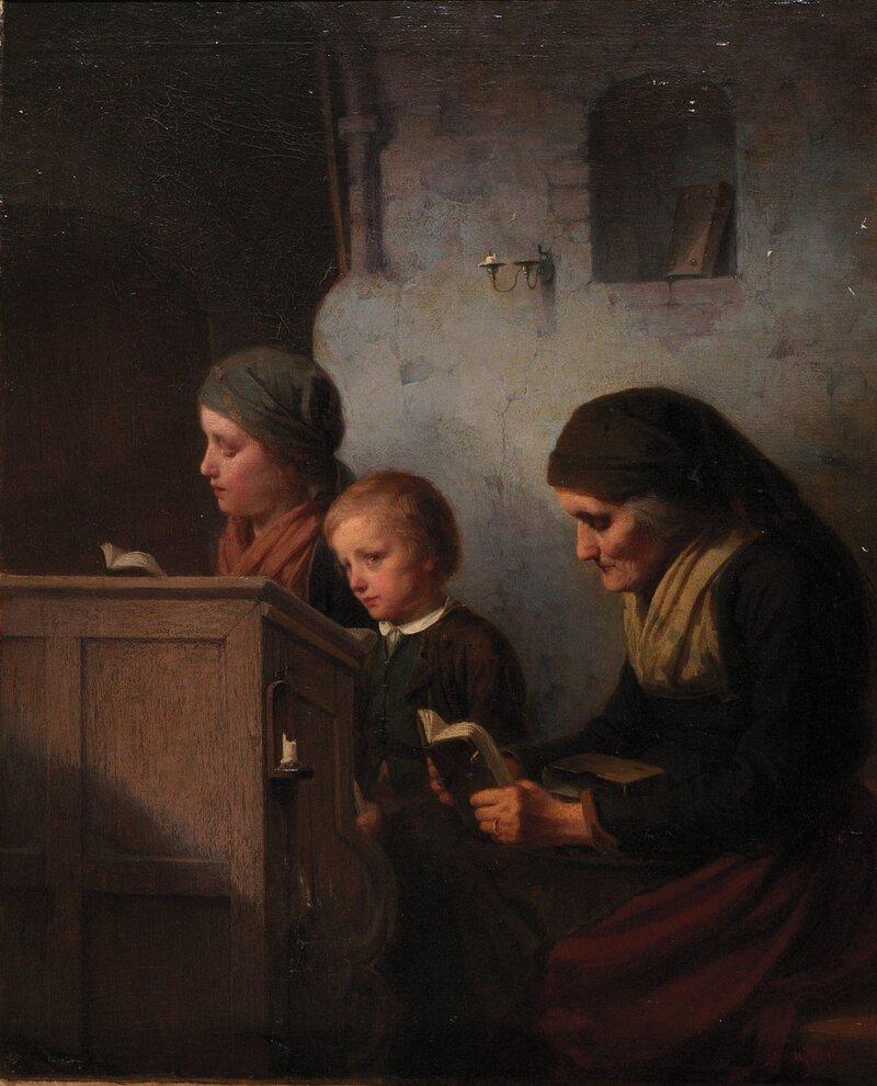 Kirkeinteriør med kvinne, pike og gutt