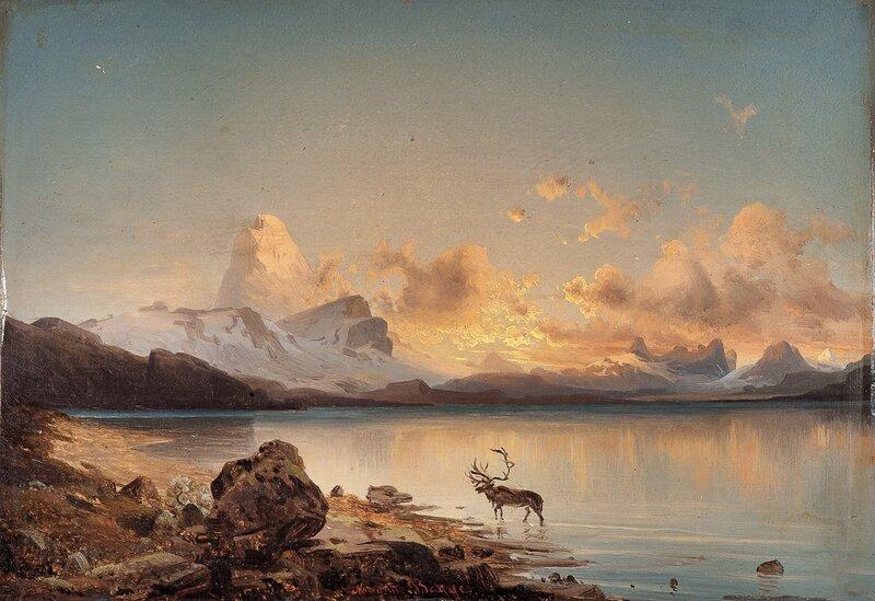 Aftenstemning med rein 1865
