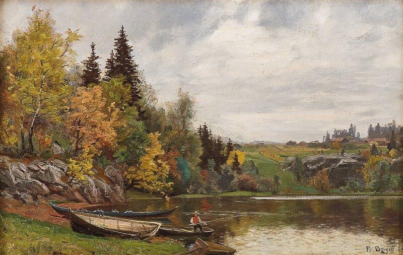 Fisker ved innsjø 1884