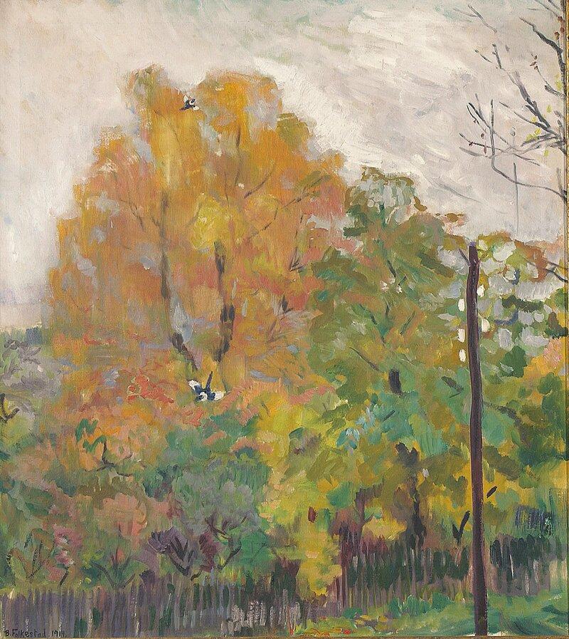 Løvtrær i høstdrakt med skjærer 1914