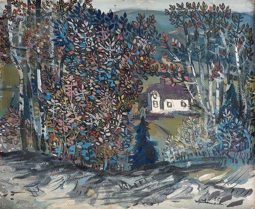 Landskap med hvitt hus 1955