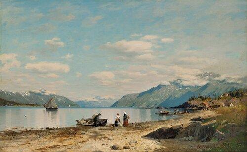 Fjordlandskap med folkeliv 1876
