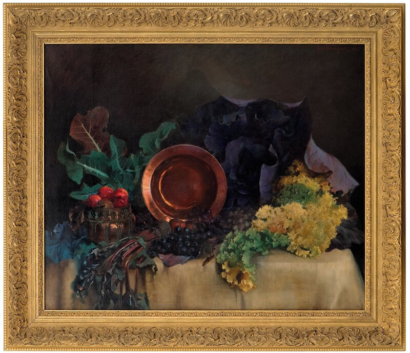 Arrangement with copper plate, vegetables and fruit