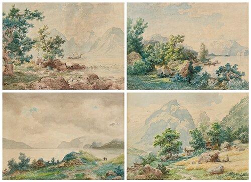 Forlegg til fire malerier på Oscarshall 1849